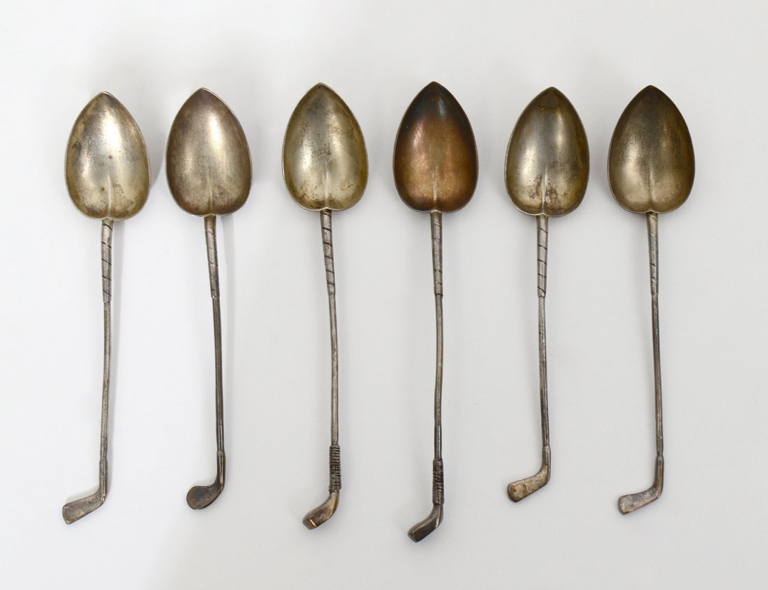 GROUP OF SIX STERLING SILVER DEMITASSE SPOONS
