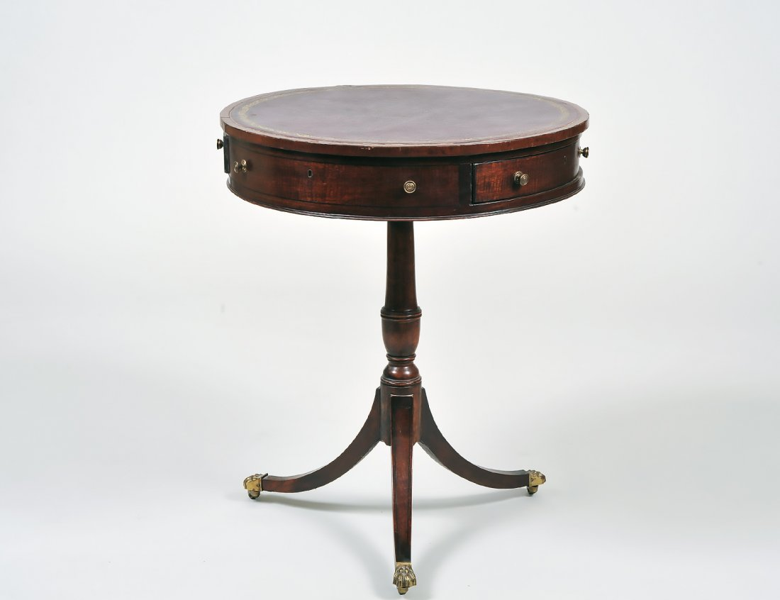 LATE GEORGE III INLAID MAHOGANY SMALL TRIPOD DRUM TABLE