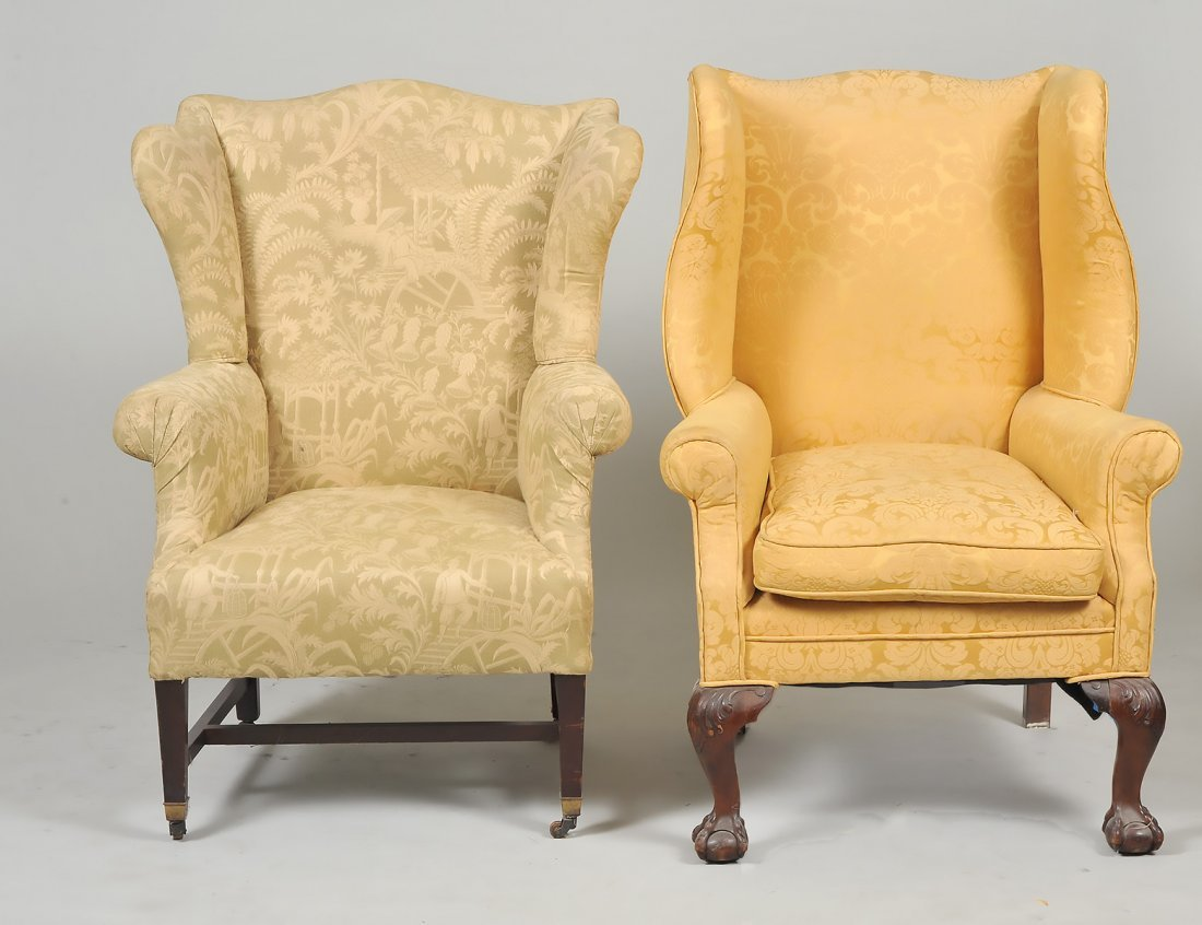 TWO GEORGE III STYLE MAHOGANY WING CHAIRS