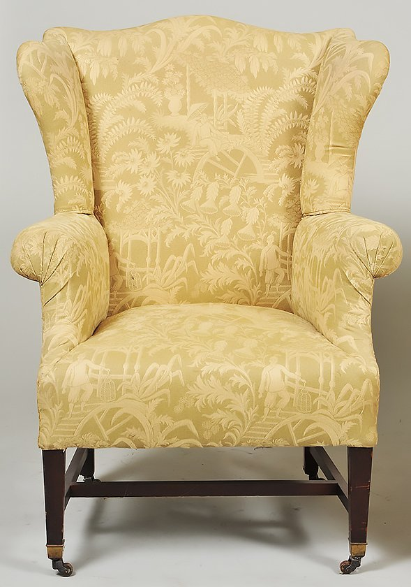 TWO GEORGE III STYLE MAHOGANY WING CHAIRS - 2