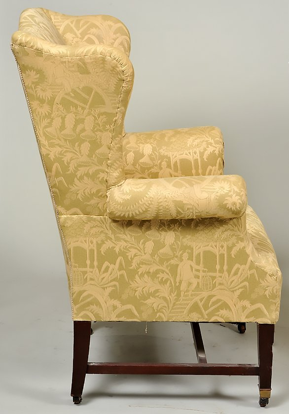 TWO GEORGE III STYLE MAHOGANY WING CHAIRS - 6