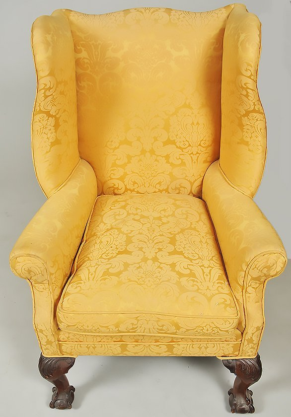 TWO GEORGE III STYLE MAHOGANY WING CHAIRS - 9