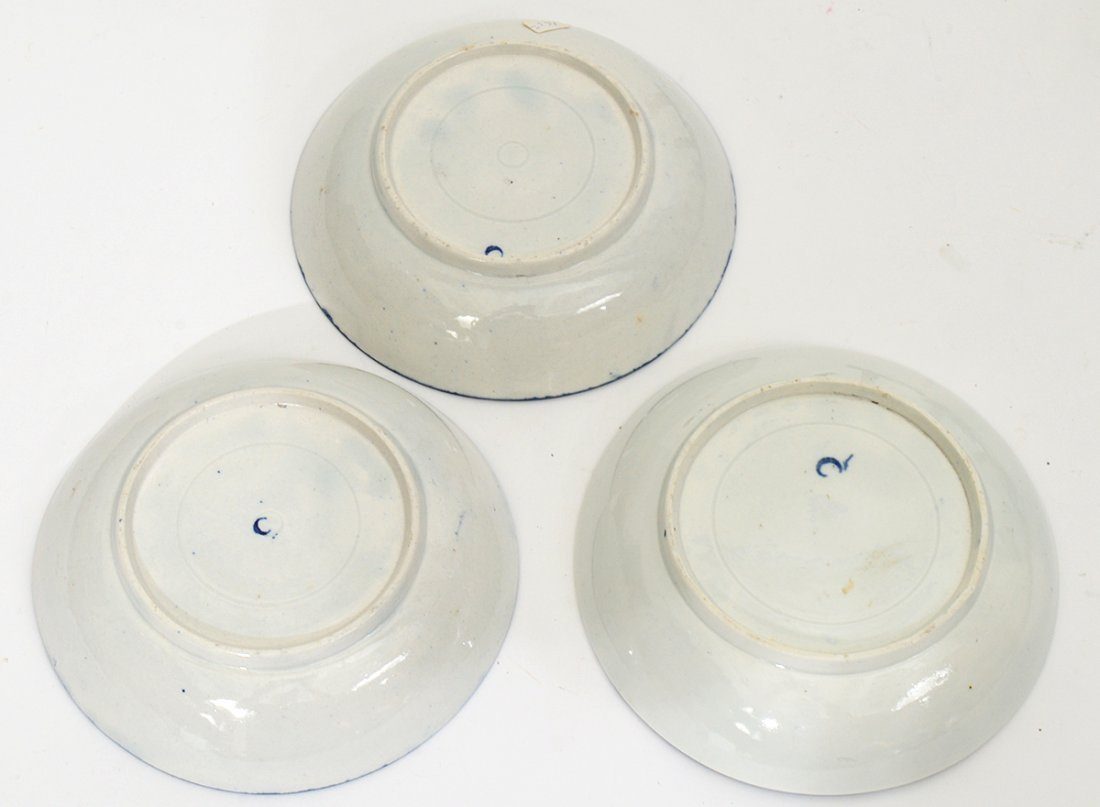 GROUP OF THREE BLUE & WHITE PAINTED PORCELAIN CUPS AND - 3