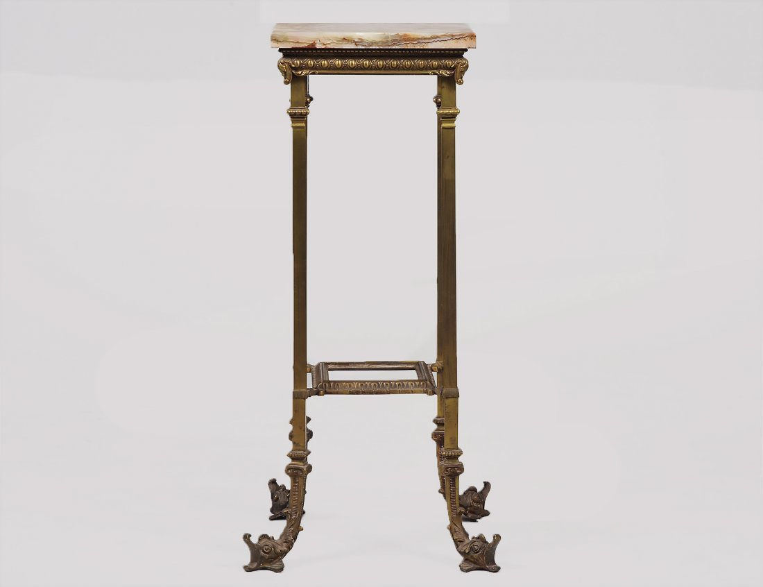 ONYX AND GILT BRASS PEDESTAL