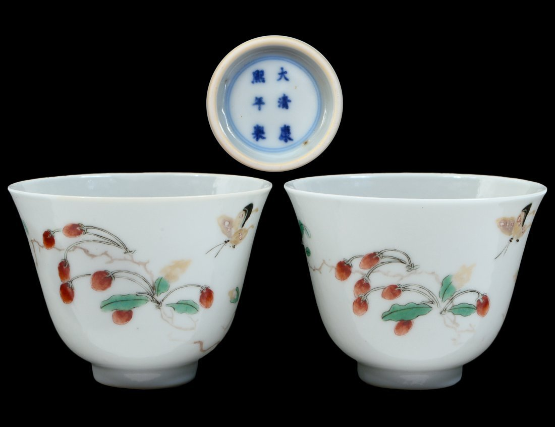 FINE AND RARE PAIR OF CHINESE FAMILLE VERTE CUPS