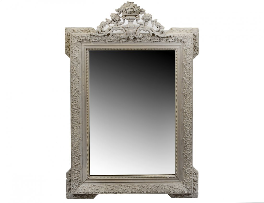 REGENCE STYLE CARVED AND PAINTED GESSO MIRROR