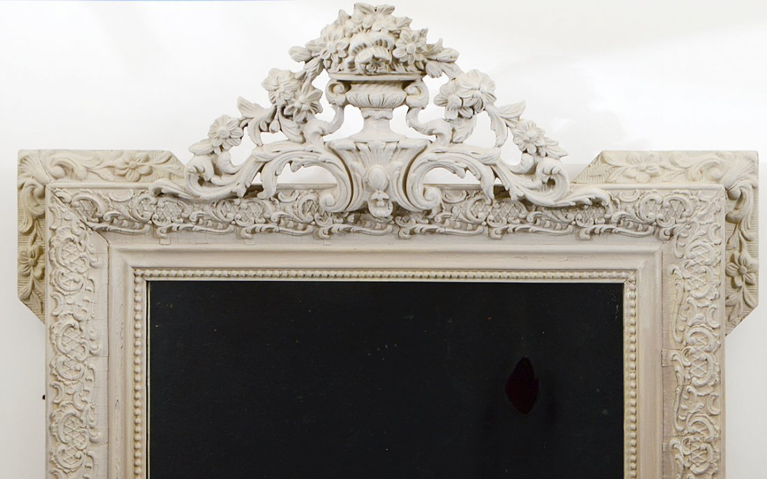 REGENCE STYLE CARVED AND PAINTED GESSO MIRROR - 2