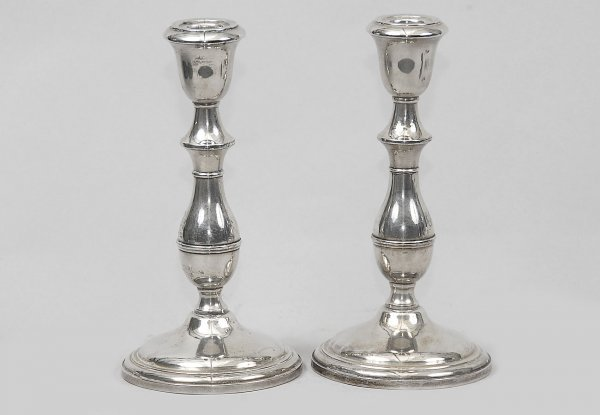 4: Pair Stamped Sterling Weighted Candlesticks