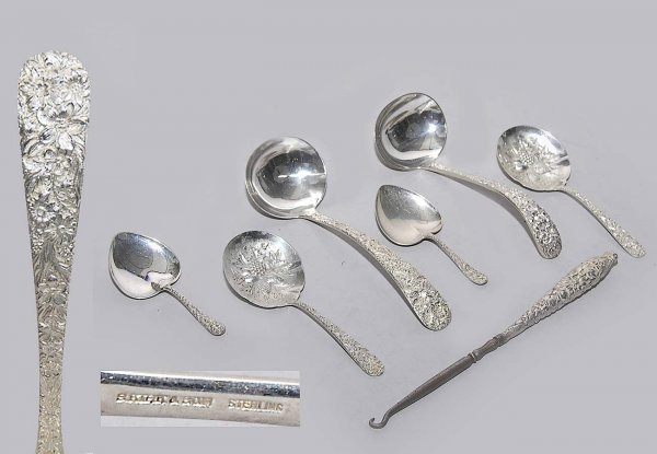 6: 6 Sterling Stamped Serving Pieces
