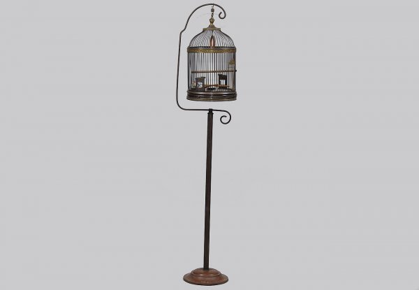 88: Large Antique Brass Bird Cage Suspended on Pole