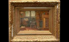 227: Flemish School 19th C Interior Cottage Scene OC