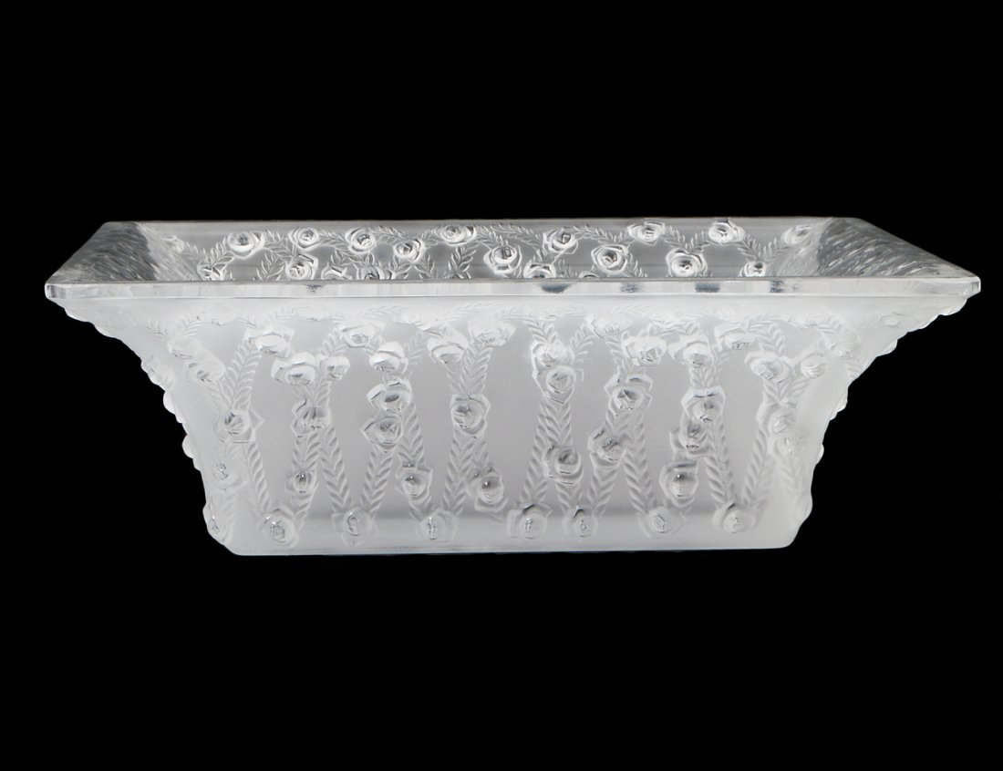 """LALIQUE COLORLESS & FROSTED GLASS SQUARE """"ROSES"""" BOWL"""