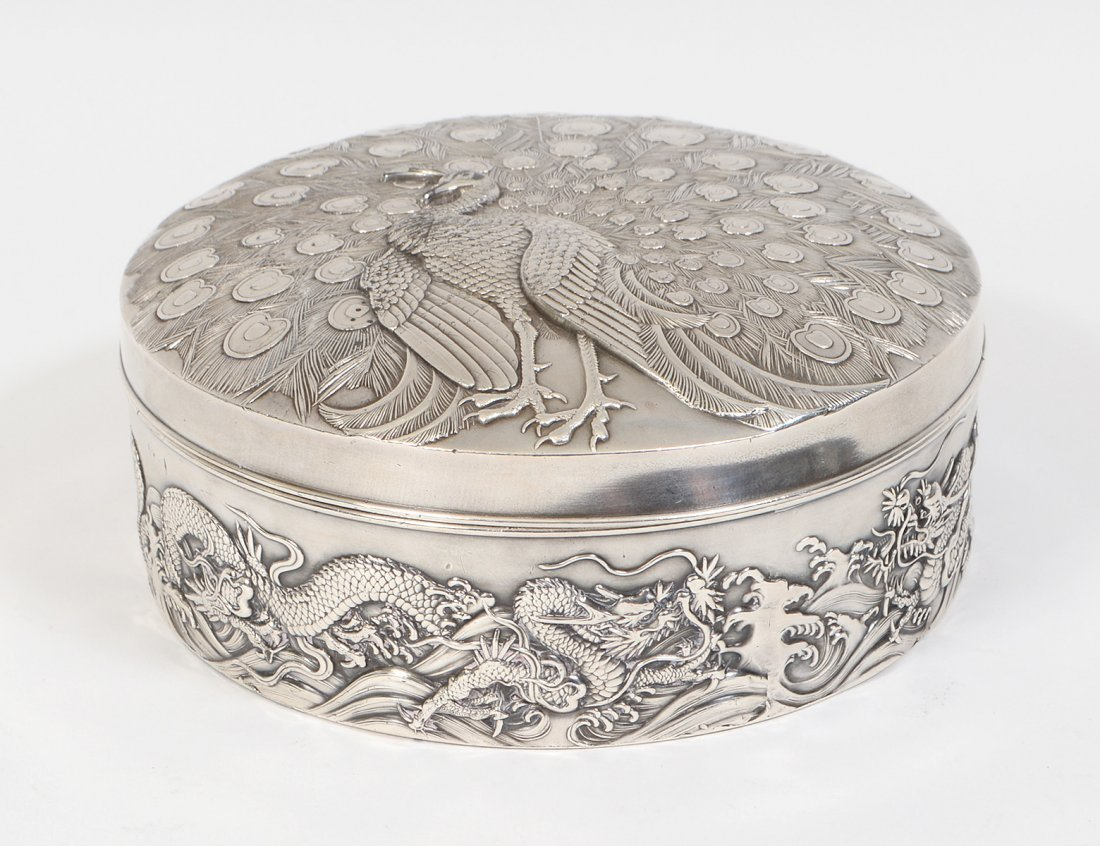 CHINESE EXPORT SILVER PLATE COVERED CIRCULAR BOX