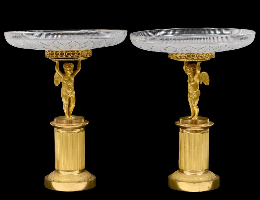 PAIR OF CHARLES X STYLE CUT-GLASS & GILT BRONZE TAZZA