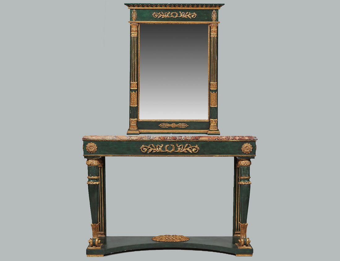 NEO-CLASSICAL STYLE MARBLE TOP PAINTED CONSOLE & MIRROR
