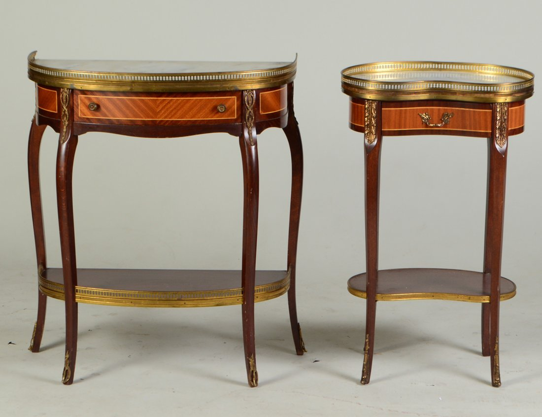 TWO LOUIS XV STYLE VARIOUS WOOD TABLES EN CHIFFIONIERE