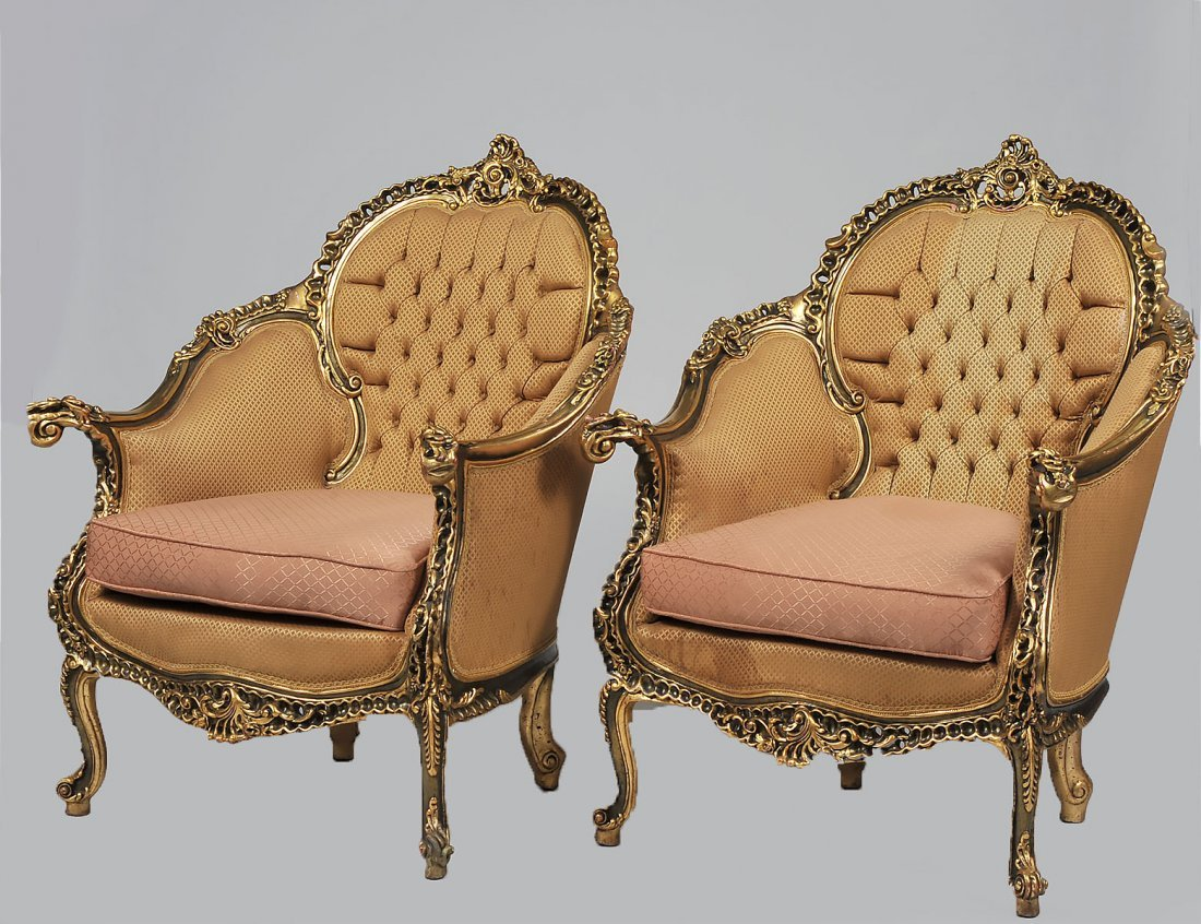 PAIR OF FRENCH ROCOCO STYLE LARGE GILTWOOD BERGERES