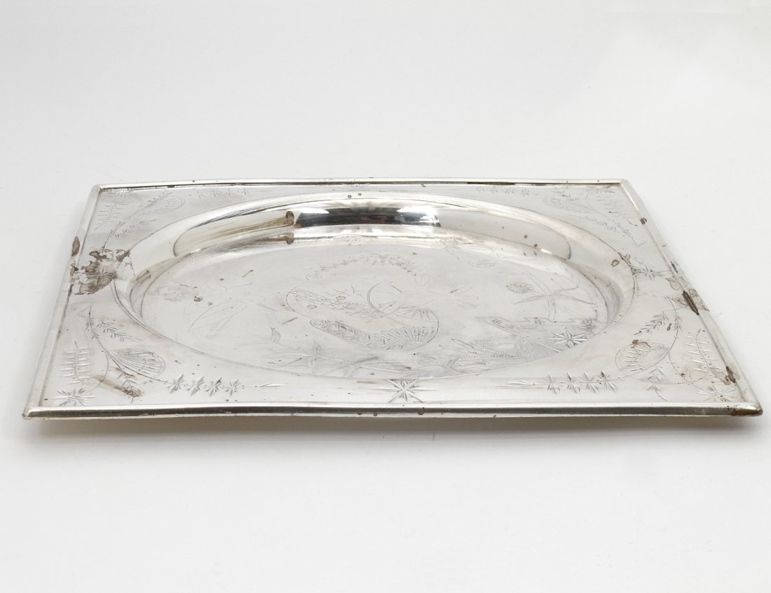 AESTHETIC MOVEMENT SILVER PLATED TRAY