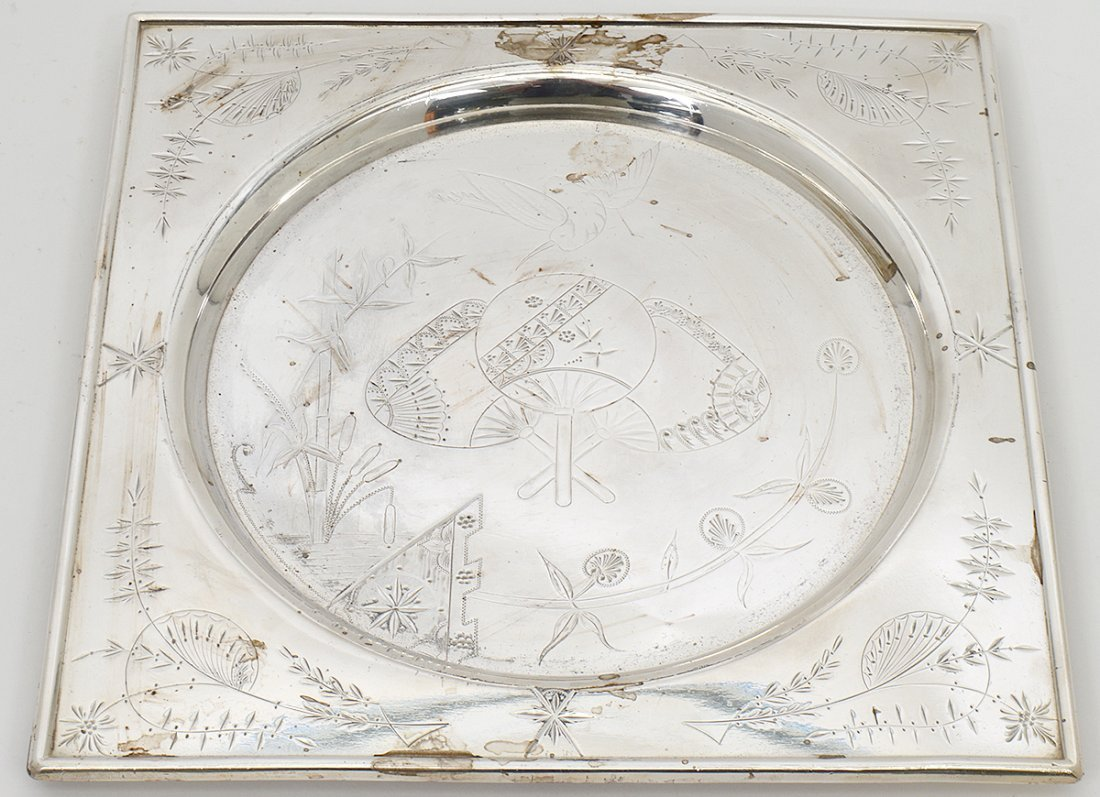 AESTHETIC MOVEMENT SILVER PLATED TRAY - 2