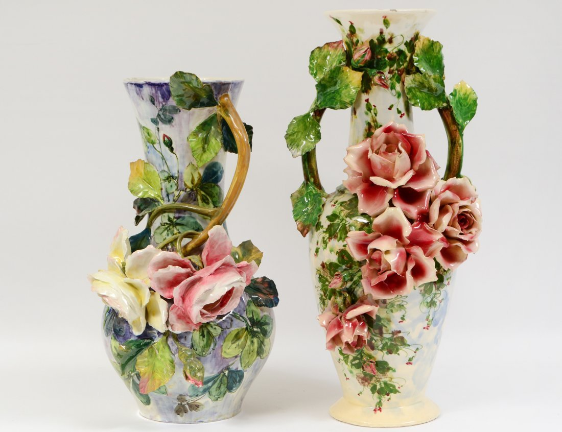 TWO LARGE ITALIAN MAJOLICA FLOWER VASES