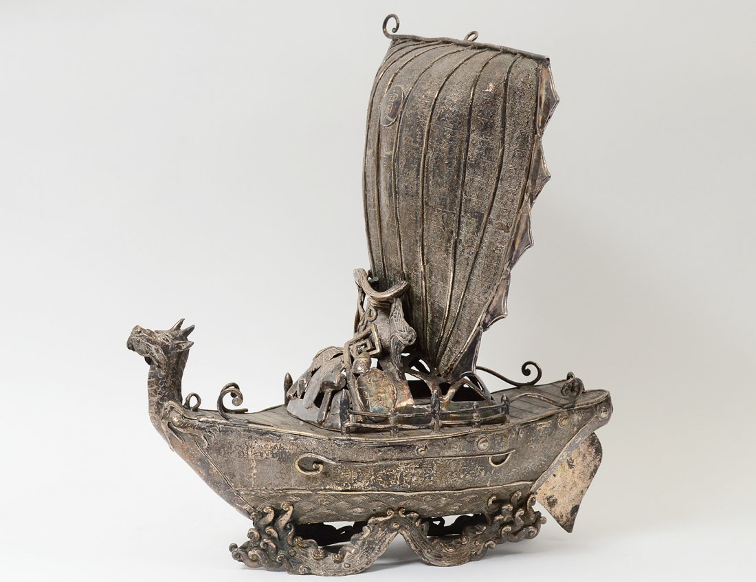 SILVERED METAL TREASURE BOAT/INCENSE BURNER