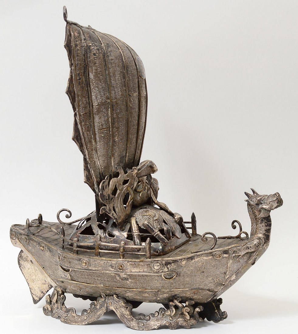 SILVERED METAL TREASURE BOAT/INCENSE BURNER - 2