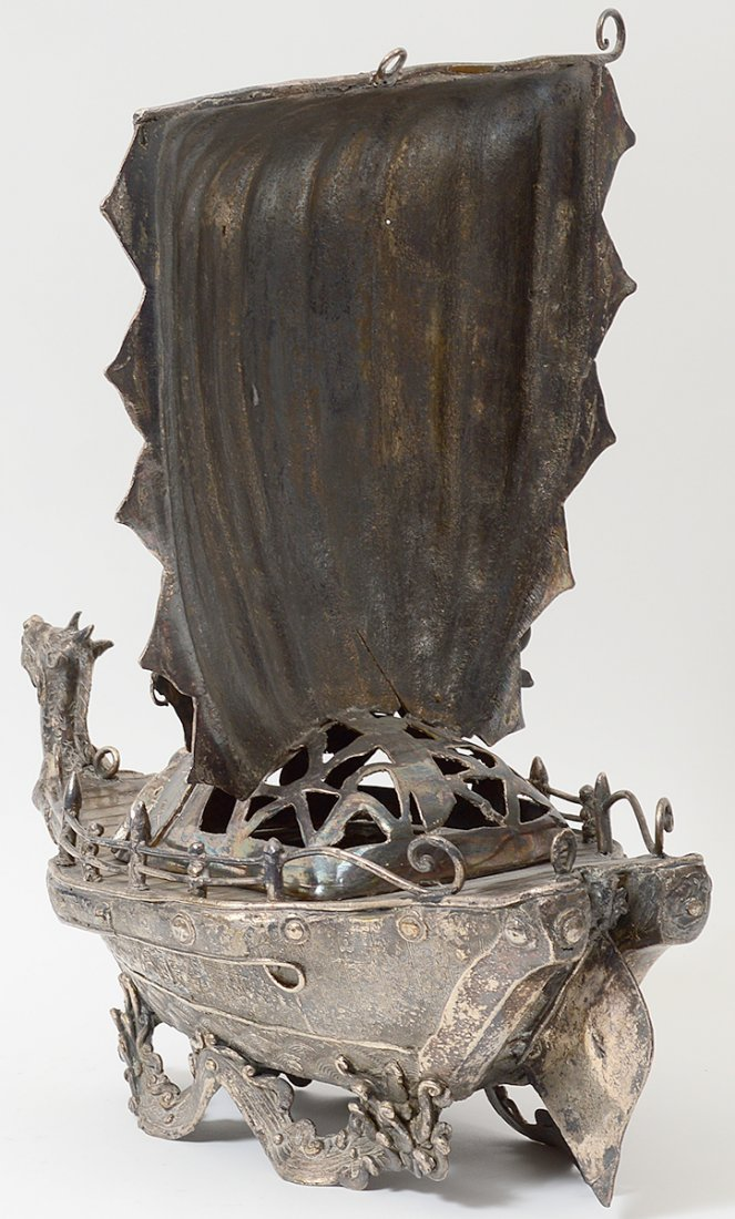 SILVERED METAL TREASURE BOAT/INCENSE BURNER - 5