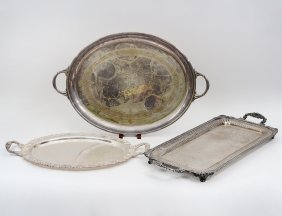 THREE SILVER PLATE TRAYS
