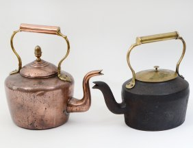 TWO HOT IRON AND VARIOUS METAL WATER KETTLES
