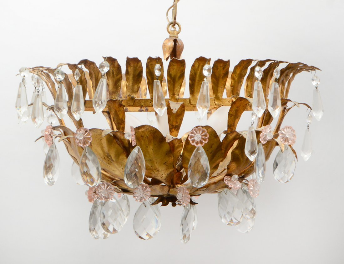 GILT METAL & CUT GLASS THREE LIGHT CEILING FIXTURE
