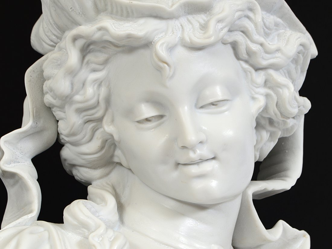 PAIR OF FRENCH PARIAN WARE BUSTS OF YOUNG LADIES - 10