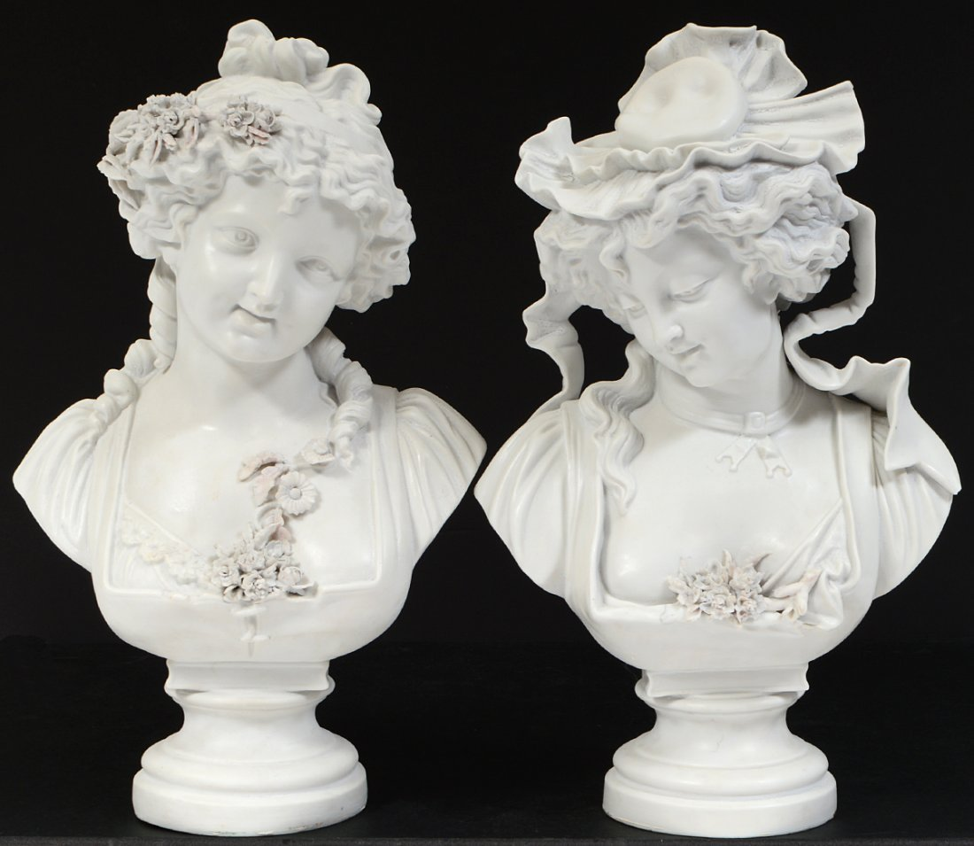 PAIR OF FRENCH PARIAN WARE BUSTS OF YOUNG LADIES