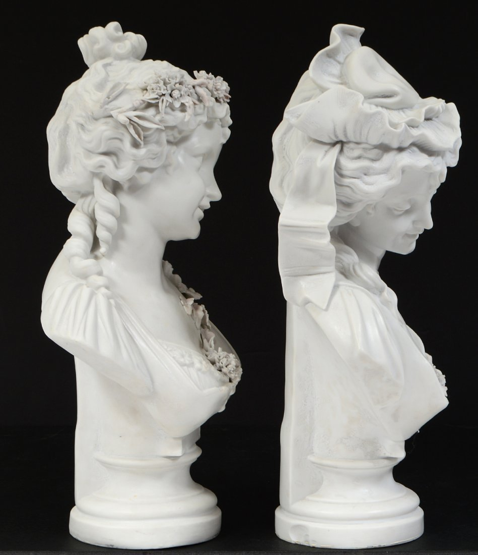 PAIR OF FRENCH PARIAN WARE BUSTS OF YOUNG LADIES - 4