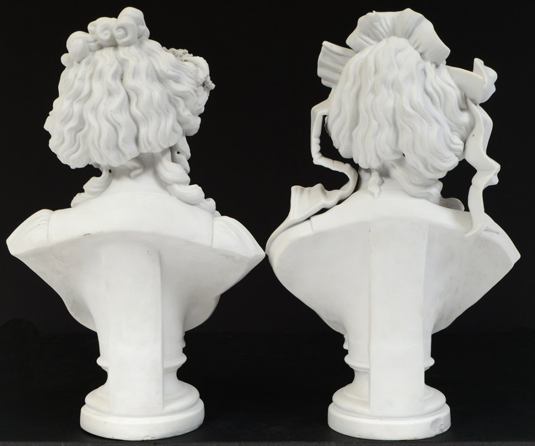 PAIR OF FRENCH PARIAN WARE BUSTS OF YOUNG LADIES - 6