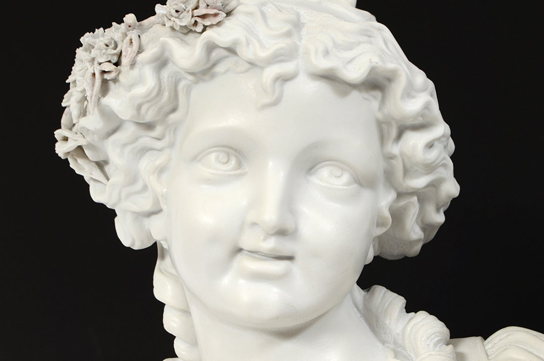 PAIR OF FRENCH PARIAN WARE BUSTS OF YOUNG LADIES - 9