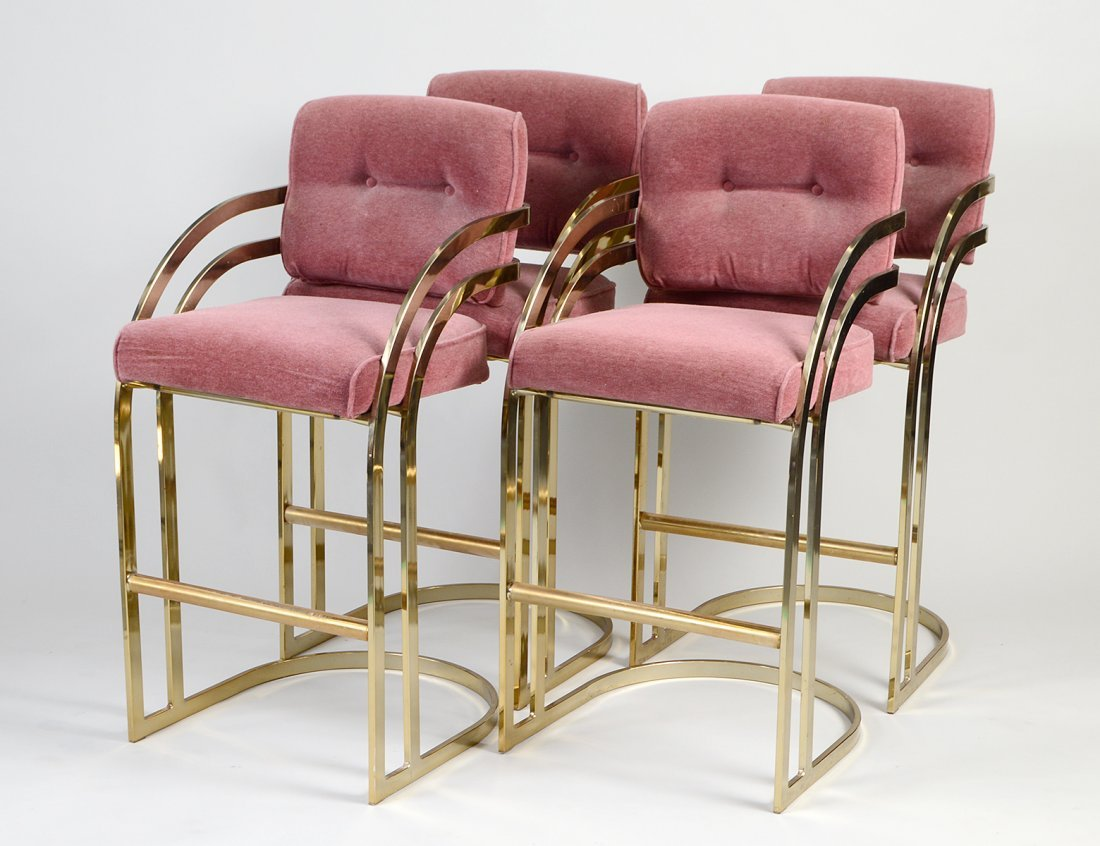 SET OF FOUR GILT METAL BAR ARMCHAIRS