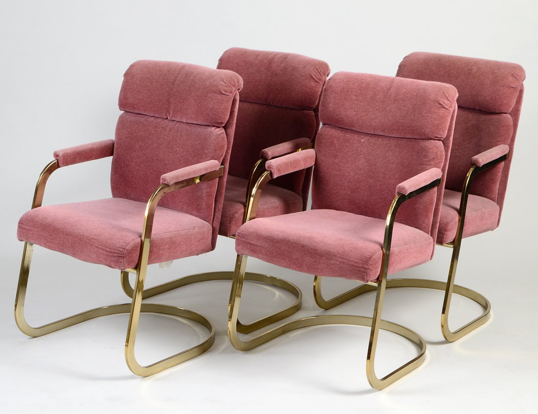 SET OF FOUR GILT METAL ARMCHAIRS