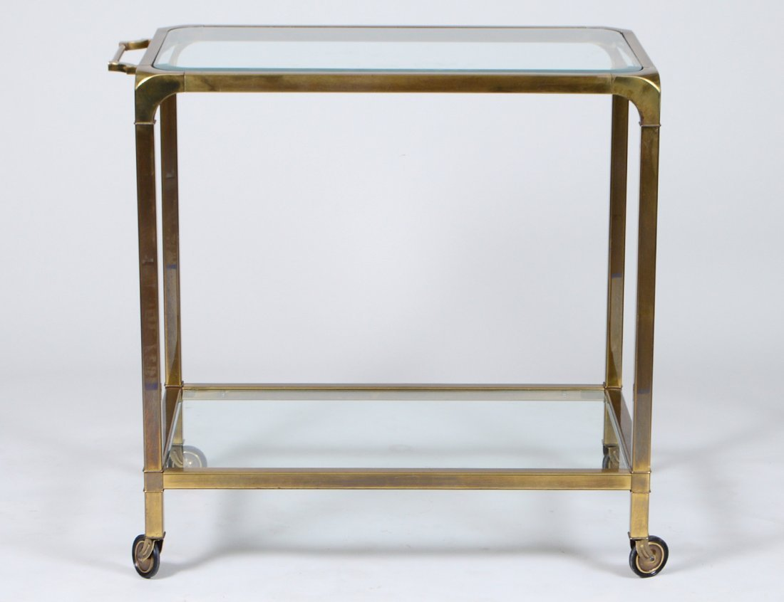 CONTEMPORARY MASTERCRAFT BRASS ROLLING SERVING CART