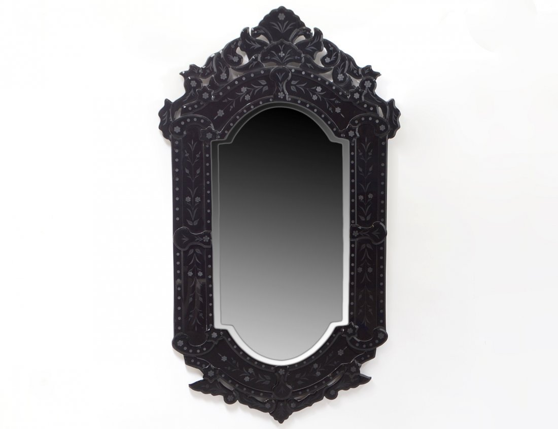 VENETIAN BLACK GLASS MIRROR FRAMED MIRROR