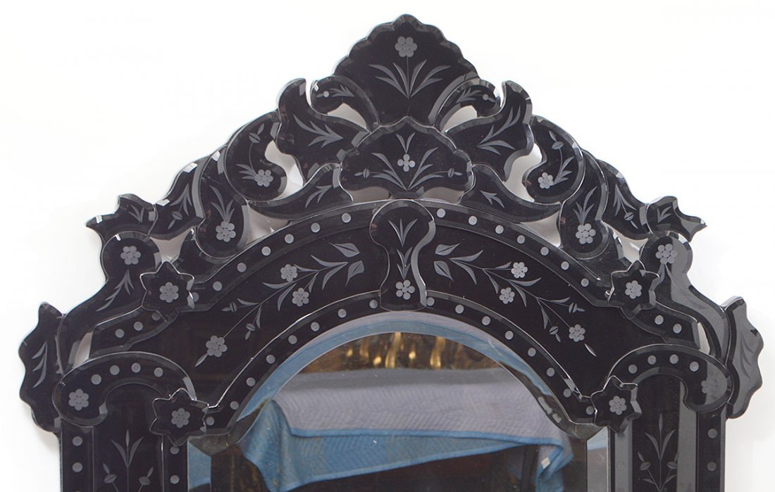 VENETIAN BLACK GLASS MIRROR FRAMED MIRROR - 2