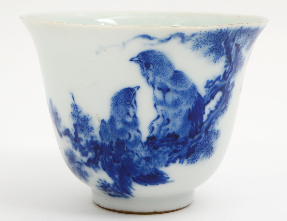 CHINESE BLUE AND WHIT PORCELAIN WINE CUP