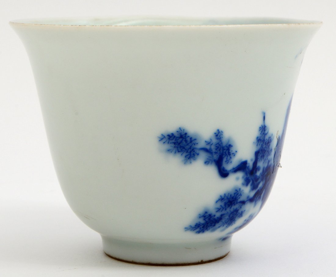CHINESE BLUE AND WHIT PORCELAIN WINE CUP - 2