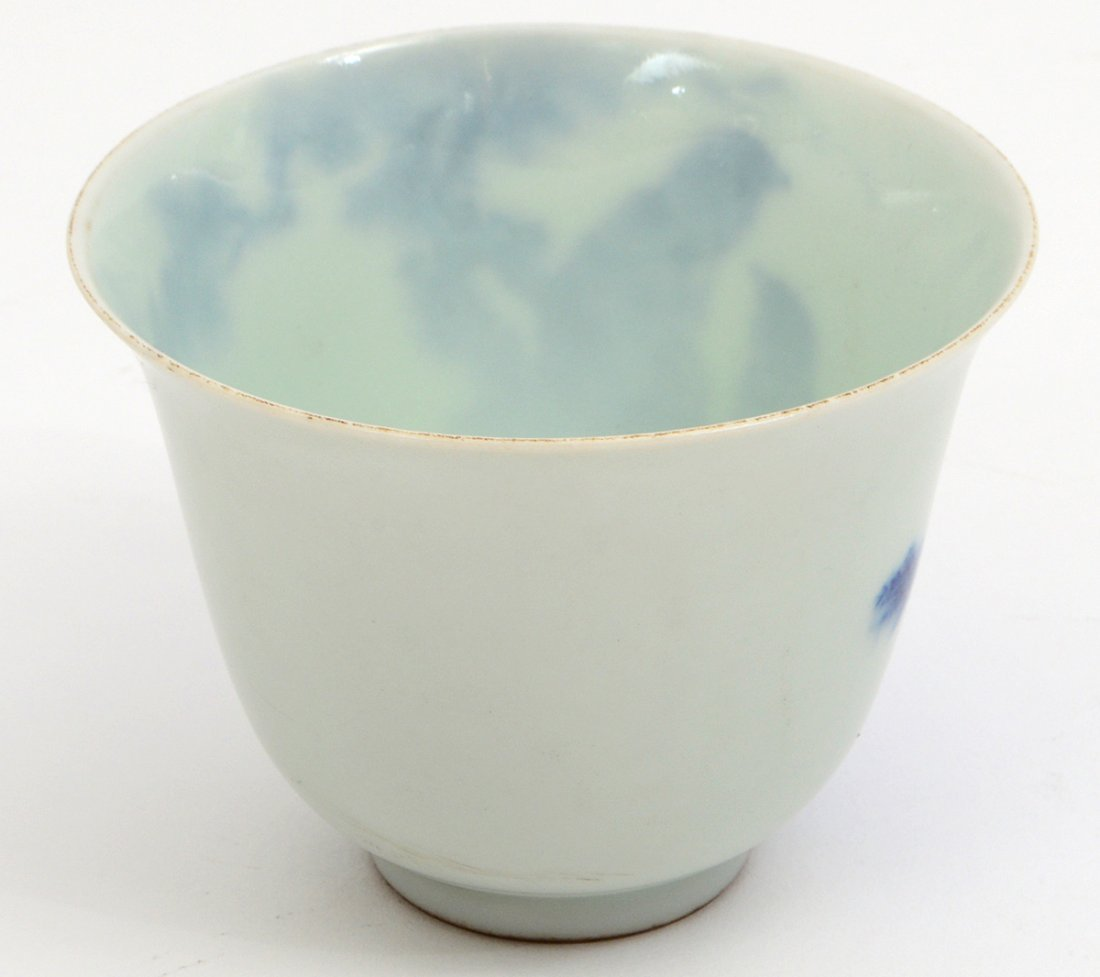 CHINESE BLUE AND WHIT PORCELAIN WINE CUP - 4