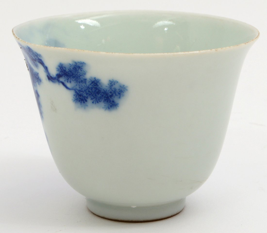 CHINESE BLUE AND WHIT PORCELAIN WINE CUP - 5