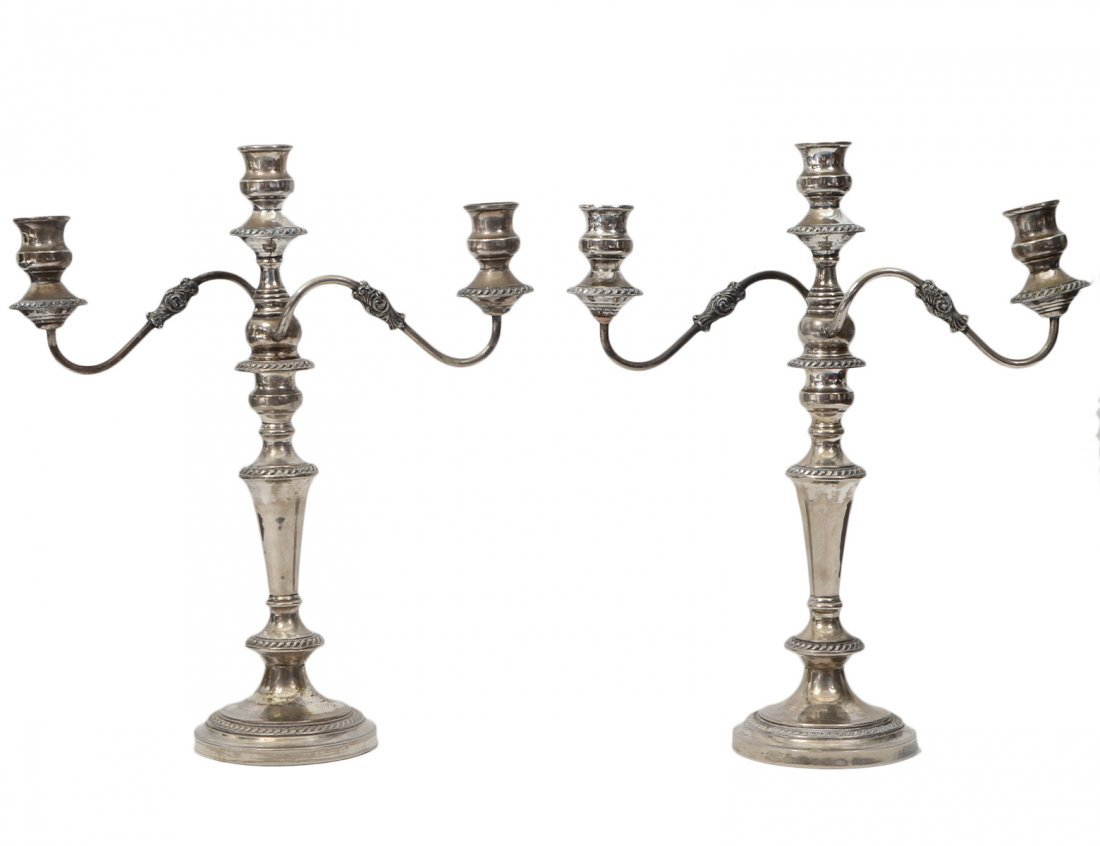 PAIR OF THREE LIGHT SILVER PLATE CANDELABRAS
