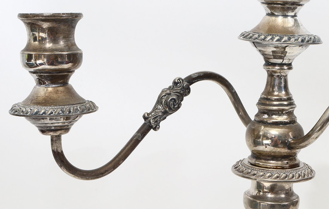PAIR OF THREE LIGHT SILVER PLATE CANDELABRAS - 3