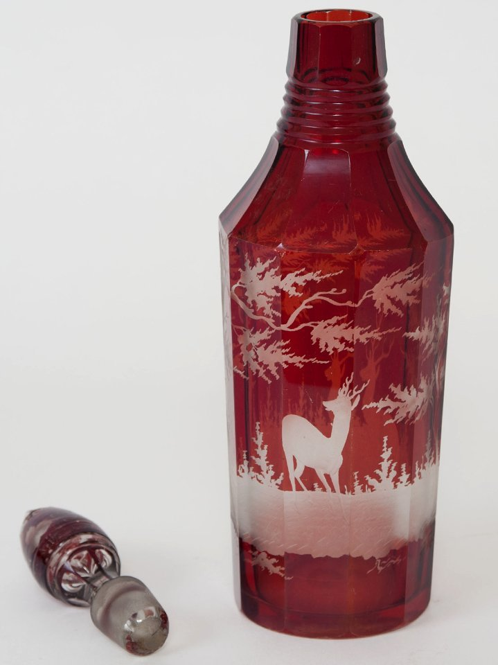 RUBY FLASHED AND FROSTED GLASS DECANTER - 3