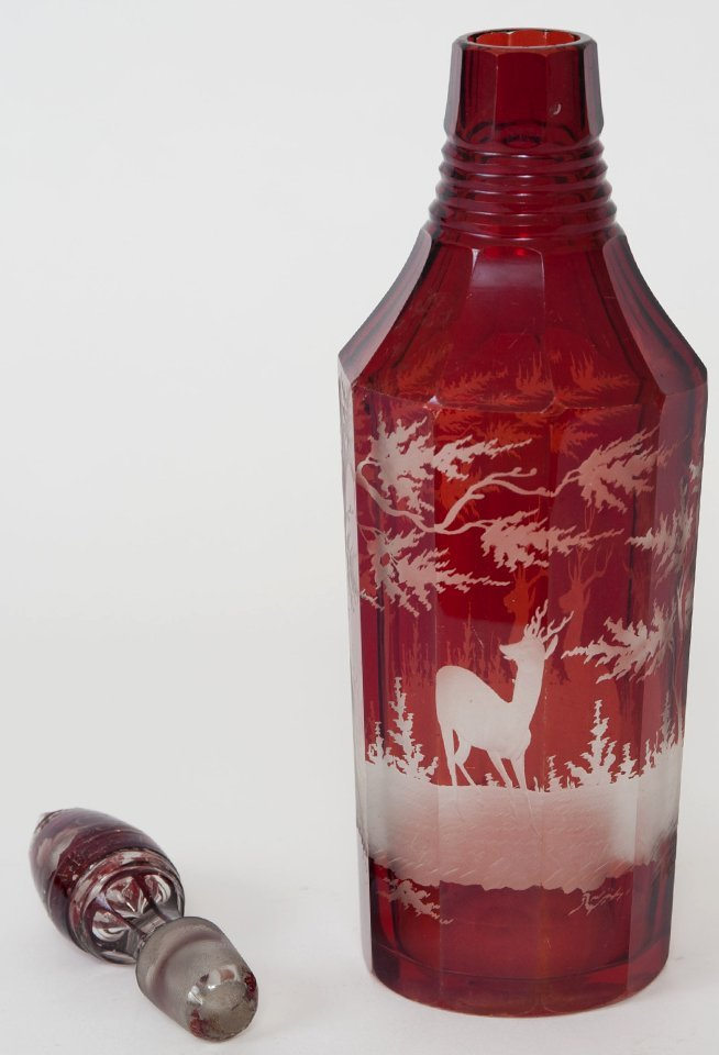 RUBY FLASHED AND FROSTED GLASS DECANTER - 4