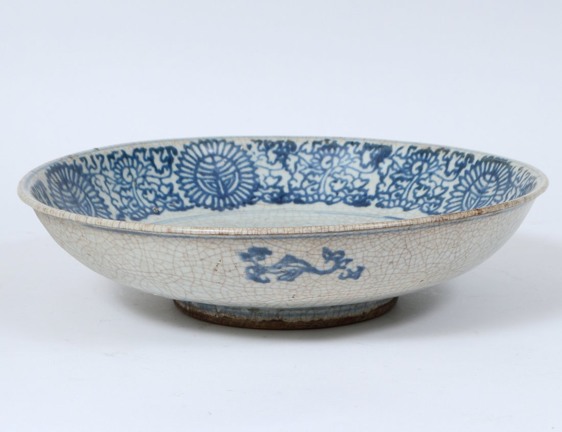 BLUE AND CELADON CRACKLE GLAZED BOWL