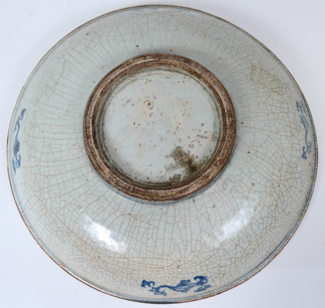 BLUE AND CELADON CRACKLE GLAZED BOWL - 3